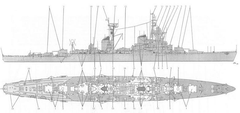 Схема общего вида КРА пр. 68бис (вид сверху показан с 533-мм ТА):