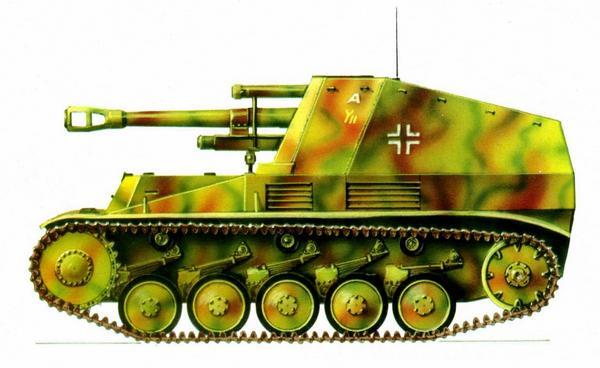 Wespe. 102-й артиллерийский полк 9-й танковой дивизии (Pz.Art.Rgt.102, 9.Panzer Division). Франция, 1944г.