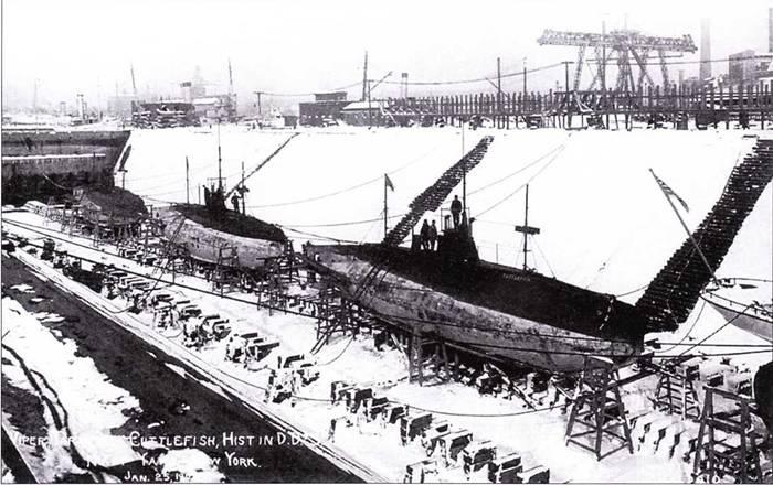 Американские подводные лодки: Cuttlefish. Tarantula, Viper (верфь Нью-Йорк, вероятно 1907г.).
