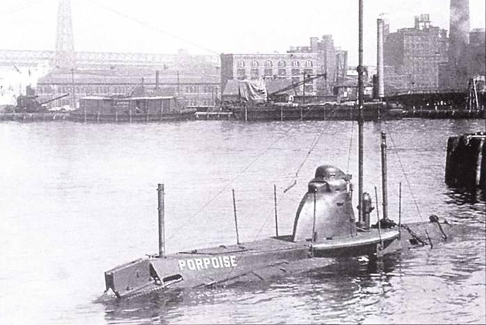 Верфь в Нью-Йорке, подводная лодка Porpoise (Л-4).