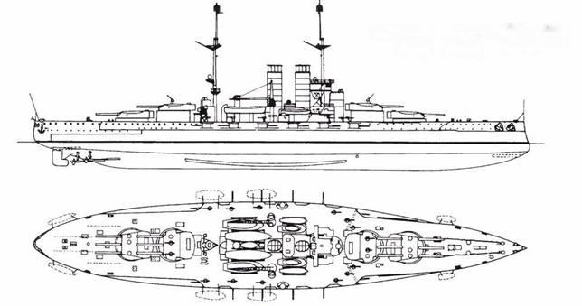 Австро-венгерский линкор Viribus Unilis. Построен в 1912г., 21595т… 12x305 мм, 12x150 мм, 14x66 мм, 4x533 мм ТА.