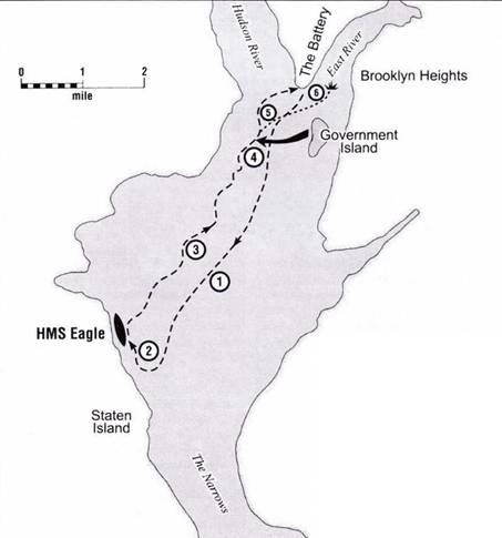 Вероятный маршрут атаки подводной лодкой Turtle корабля Eagle 6 сентября 1776 года.