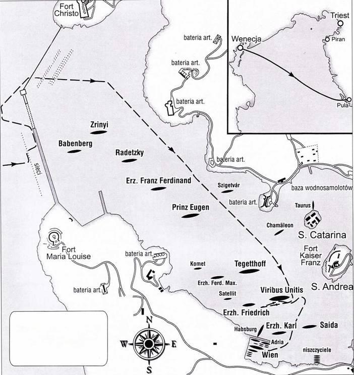 Ход атаки управляемой торпеды на порт Пула, 1 ноября 1918г.