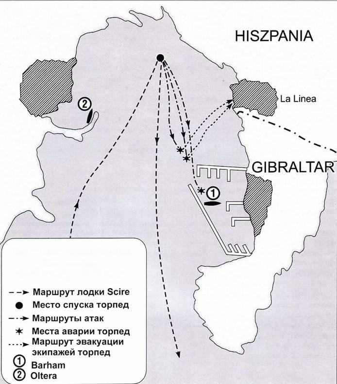 Схема итальянской атаки Гибралтара, 29–30 октября 1940 года.