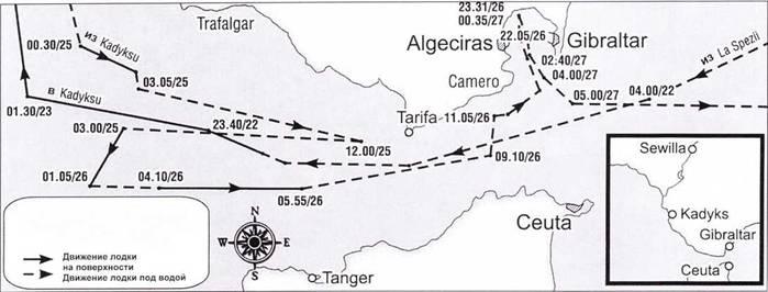 Маршрут подводой лодки Scire в ходе операции B.G. 3, 22–27 мая 1941 года.