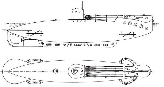 Итальянская сверхмилая подводная лодка «Тип А» (А-1 — А-6, 1916г.).