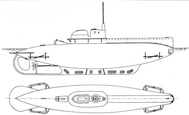 Итальянская сверхмалая подводная лодка «тин В» (В-1-В-3, 1916г.).