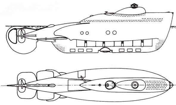 Итальянские <a href='https://arsenal-info.ru/b/book/1934221868/7' target='_self'>сверхмалые подводные лодки</a> «тип СА» (СА-1 и СА-2) после переделки в 1942 году.