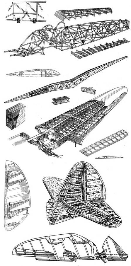 Силовой набор фюзеляжа, крыльев и оперения Як-1.