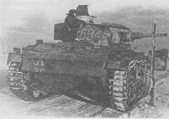 Pz.III Ausf.J из 6-го танкового полка 3-й танковой дивизии. Восточный фронт, зима 1941 года.