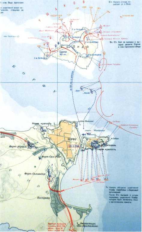 Карта штурма острова Видо и крепости Корфу 18 февраля 1799г. <emphasis>(Морской атлас. T. III. M., 1958).