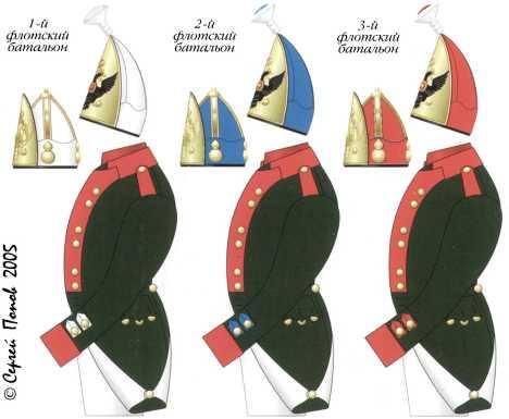 Схема цветовых различий обмундирования Черноморских флотских батальонов. Июнь 1797–1802гг.