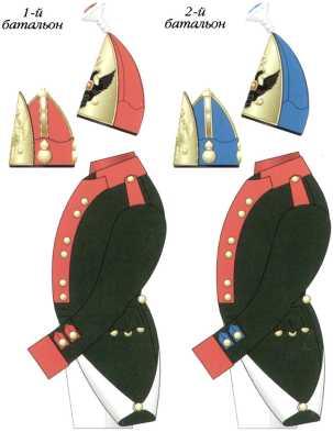 Схема цветовых различий обмундирования Адмиралтейских батальонов Балтийского флота. Ноябрь 1796 — январь 1798г. Компьютерная графика С.А. Попова.