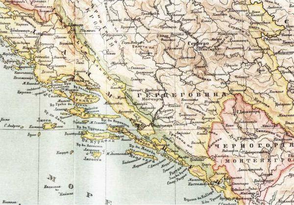 Карта адриатического побережья Далмации, Рагузы и Каттарской области, где в 1806–1807гг. действовали русские корабли и десантные войска вице-адмирала Д.Н. Сенявина. Фрагмент карты конца XIXв.