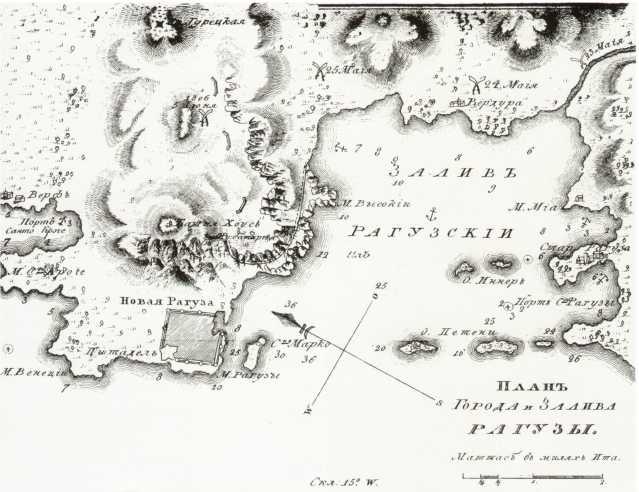 План города и залива Рагузы. Гравюра 1819г. из книги В.Б. Броневского «Записки морского офицера в продолжение кампании на Средиземном море под начальством вице- адмирала Д.Н. Сенявина от 1805 по 1810 год».