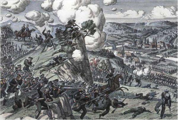 Гвардейский экипаж в сражении при Бауцене 9 мая 1813г. <emphasis>Рисунок художника О.К. Пархаева. 1989г.