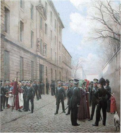 Гвардейский экипаж в Париже в 1814 году. Картина кисти И.С. Розена. 1911г. (ЦВММ).