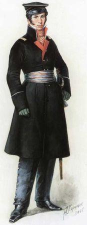 Офицер 2-го морского полка в походной форме. 1812–1814гг. <emphasis>Рисунок художника А.В. Каращука. 2005г.