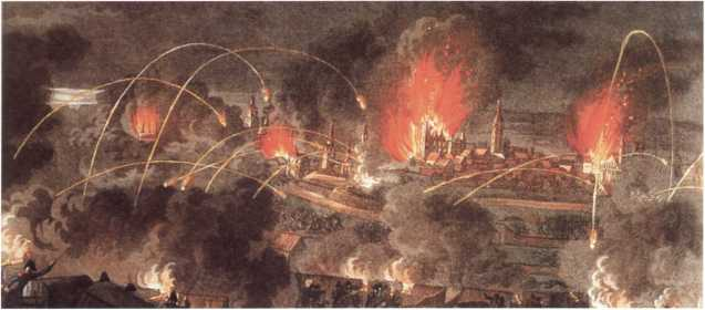 Ночная бомбардировка Данцига. <emphasis>Фрагмент раскрашенной гравюры И.-P. Ругендаса. 1810-е гг.
