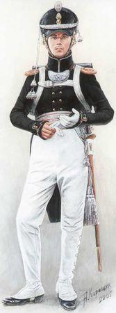 Обер-офицер 1-го морского полка в парадной форме. 1813–1817гг. <emphasis>Рисунок художника А.В. Каращука. 2005г.