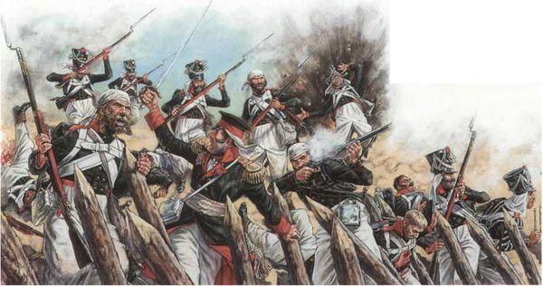 Генерал П.С. Котляревский при штурме Ленкорани 31 декабря 1812г. Рисунок художника А.В. Каращука. 2001г.