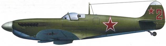 «Спитфайр» Mk IXC (серийный неизвестен), летчик – старший лейтенант Дмитрий Калинин, 19-й ИАП, аэродром «Васьково» (около Архангельска), 1948