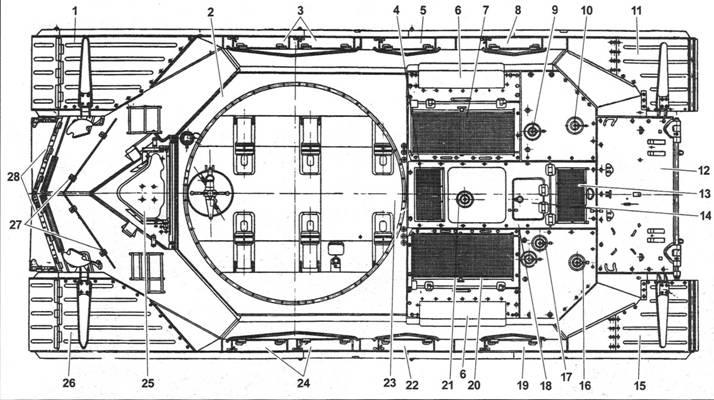 Т-10М (башня, сиденья, приборы и рычаги управления, боеукладки условно не показаны):