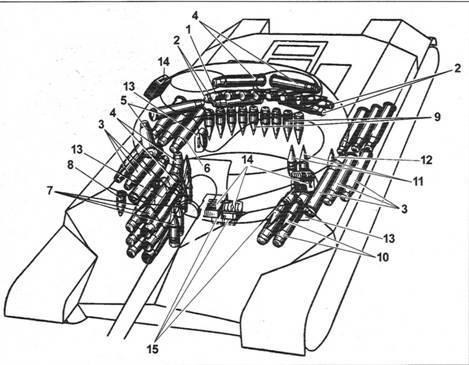 Размещение боекомплекта в танке Т-10М: