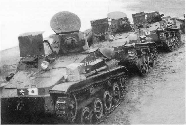 Колонна японских легких танков Тип 94 «ТК» одной из пехотных дивизий. Маньчжурия, 1938 год (ЯМ)