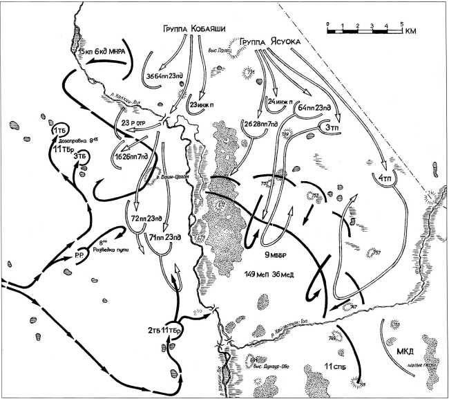 Боевые действия на реке Халхин-Гол 2–3 июля 1939 года (до 10.00 3 июля) (схему выполнил Павел Шиткин)