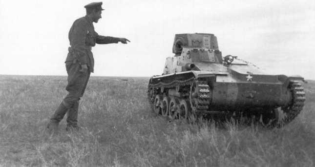 Трофейный японский легкий танк Тип 94 «ТК» из состава 3-го танкового полка Квантунской армии, вид спереди (АСКМ).