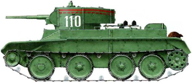 Танк БТ-5 командира взвода16-го танкового батальона11-й танковой бригады младшего лейтенантаГ. П. Тихонова, участника14 танковых атак. За бои на рекеХалхин-Гол награжден орденомКрасной Звезды.Август 1939 года (реконструкция на основе описания)