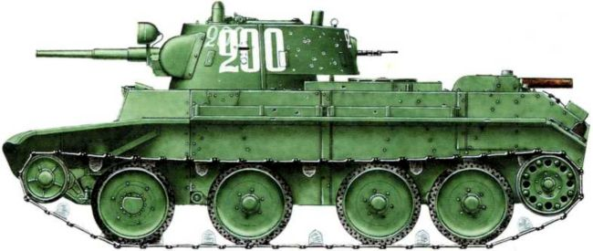 Танк БТ-7 командира1 — го танкового батальона6-й танковой бригады Героя СоветскогоСоюза капитанаВ. А. Копцова. Август1939 года.