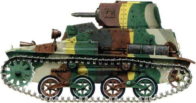 Японский легкий танк Тип 95 «ТК»из состава3-го танкового полка Квантунской армии. Июль1939 года