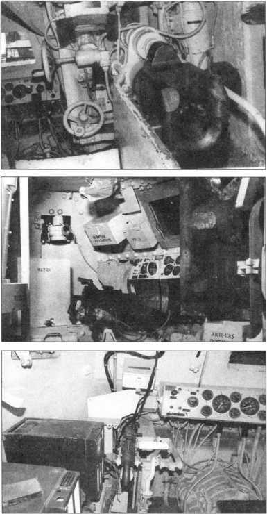 Казенная часть и механизмы наведения 75-мм пушки (вверху). Отделение управления с установленными в нем спаренными курсовыми пулеметами (в центре). Отделение управления на танке позднего выпуска с одним курсовым пулеметом (внизу).