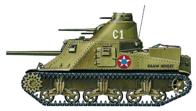 Средний танк М3. 2-я <a href='https://arsenal-info.ru/b/book/1627328415/38' target='_self'>танковая дивизия</a> армии США, Форт Беннинг, штат Джорджия, февраль 1942 года Рисунок М. Дмитриева.