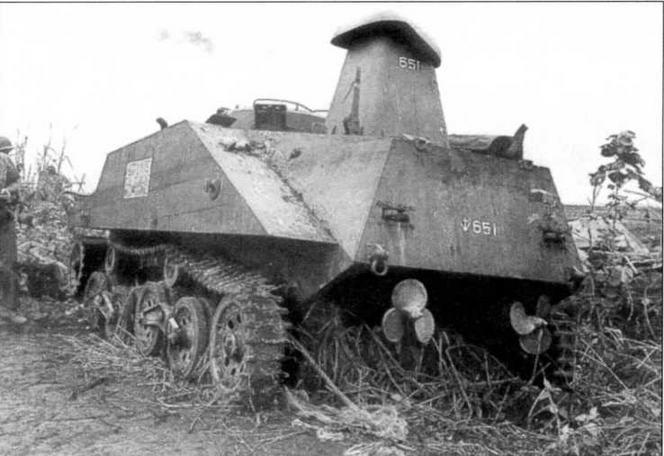 Танк «Ка-ми», подбитый на о.Лусон в январе 1945 года. Понтоны сбрасывались по выходу машины на берег. На снимке хорошо видны гребные винты