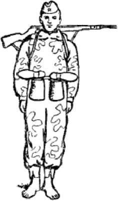 Рис. 68. Боец перед переправой вплавь