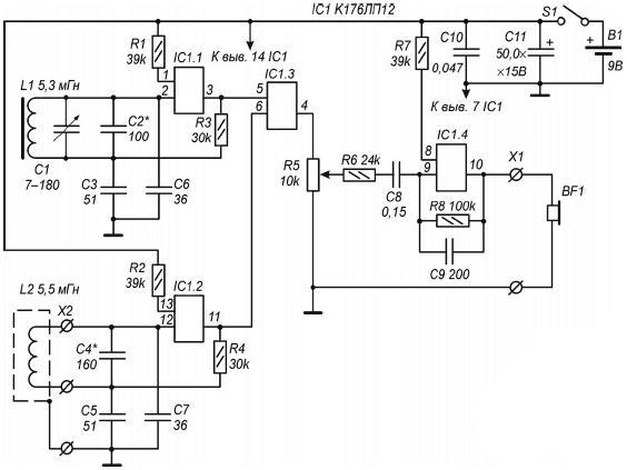 Схема металлоискателя на светодиоде