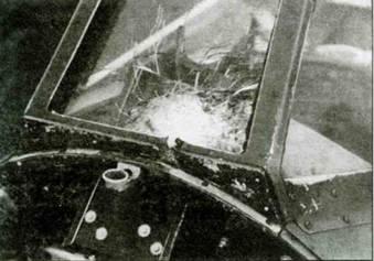 Разбитое лобовое стекло «Харрикейна» флайт-лейтенанта Дениса Гиллама. Повреждение получено 8 октября 1940 годи в бою с Ju 88.