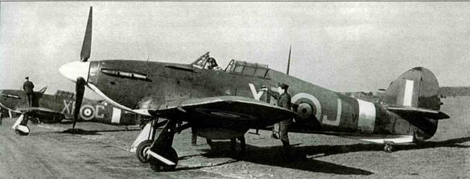 «Харрикейн I» XR-J из американской 71-й эскадрильи, Кертонин-Линдси, весна 1941 года. В это время эскадрилья обрела состояние боеготовности. Серийный номер самолета закрашен белой полосой у хвостового оперения.