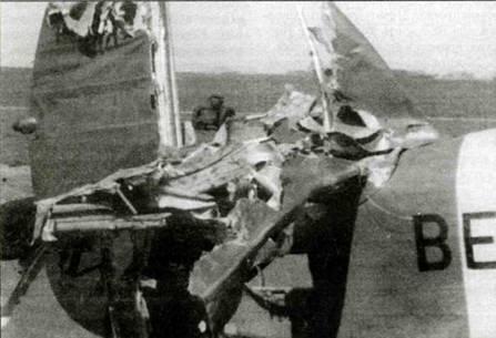 «Харрикейн» взводного офицера Э. Тренчарда-Смита с буквально разнесенным на куски хвостовым оперением. Несмотря на столь серьезное повреждение, офицер дотянул до базы, за что заслужил прозвище «Tailless Ted» (бесхвостый Тед).