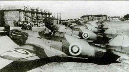 «Харрикейны Mk I» из 111-й эскадрильи на аэродроме Нортхолт, февраль 1938 года. Снимок сделан для прессы.