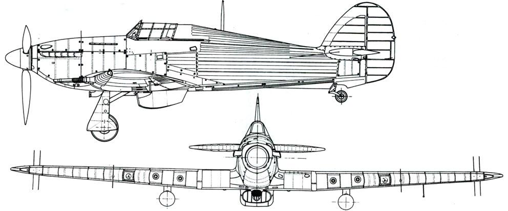 Hawker Hurricane NF MkIIC с иными выхлопными патрубками