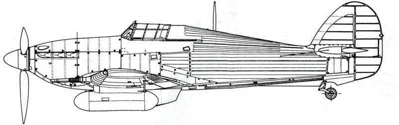 Hawker Hurricane NF MkIIC с подвесными топливными баками