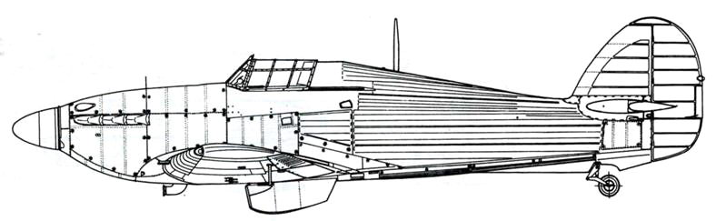 Hawker Hurricane MkIIB советский вариант с четырьмя 12,7-мм пулеметами БС