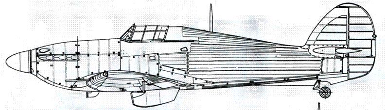 Hawker Hurricane MkIIB советский вариант с четырьмя 12,7-мм пулеметами БС и с двумя пушками ШВАК