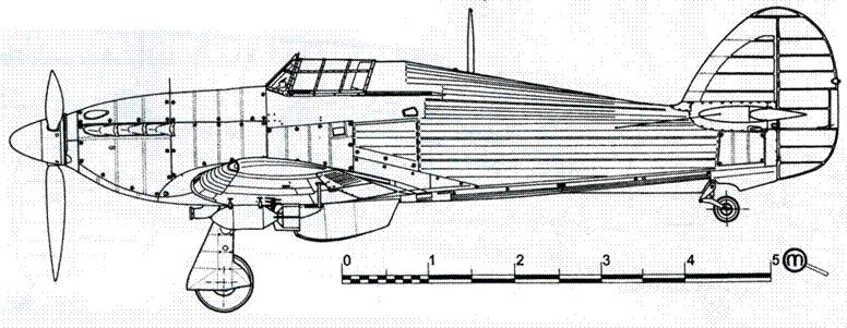 Hawker Hurricane MkIIB советский вариант с бомбами ФАБ-100 под крыльями