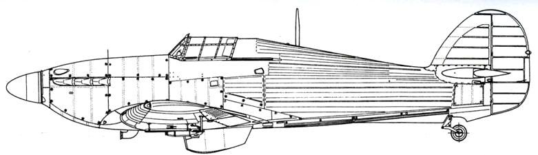 Hawker Hurricane MkIIB советский вариант с четырьмя РС-82 под крыльями