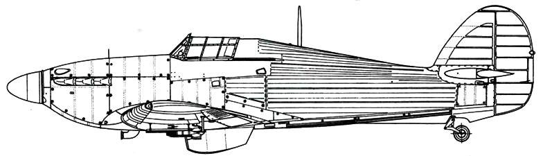 Hawker Hurricane MkIIB советский вариант с шестью РС-132 под крыльями